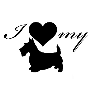 I Love My Terrier Dog Silhouette Heart Vinyl Sticker Car Decal